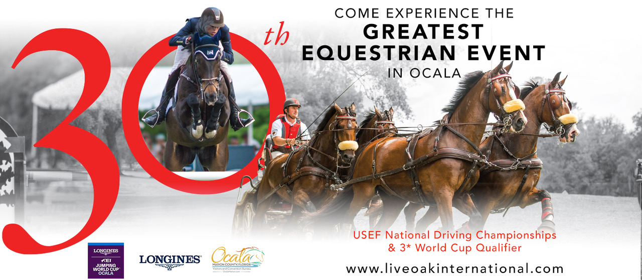 LIVE OAK INTERNATIONAL RETURNS FOR THE 30TH YEAR WITH DRIVING CHAMPIONSHIPS AND MORE THAN $180,000 IN SHOW JUMPING PRIZE MONEY